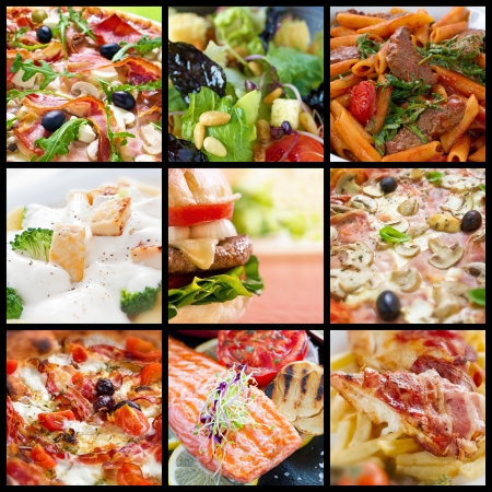 Food collage of pizzas, pastas, salads, fried food and barbecue meals.  photo
