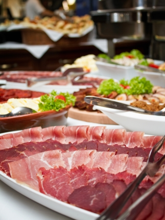 Close up shot of a wedding buffet table. Shallow focus photo