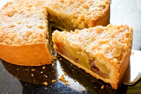 apple pie: Apple crumble pie is made with fresh apples, cinnamon, and a brown sugar and butter topping