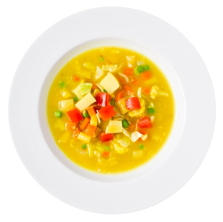 Healthy vegan soup isolated on white. Studio shot