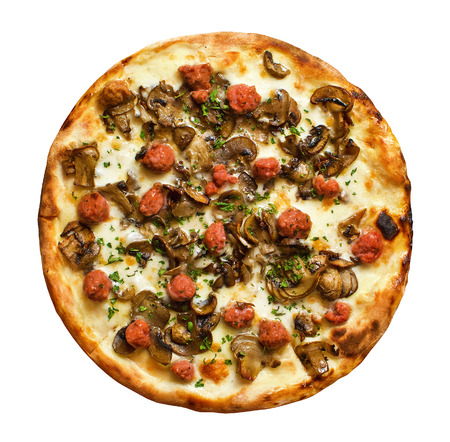 Napoli style pizza topped with authentic local salsiccia italian hot sausage and mushrooms