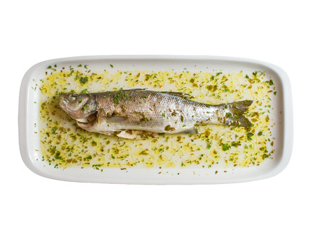 sea bass: Seabass in a beautifully styled dish. Overhead studio shot. See more food