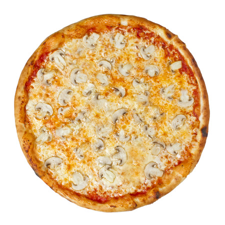 Pizza with Mushrooms and Cheese in Italian Pizza con Funghi e formaggio isolated on white Stock Photo - 26581797
