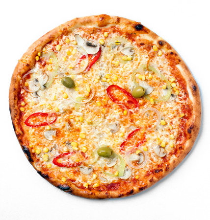 Direct above shot of freshly baked vegetarian pizza with cheese, pepper, onion, mushrooms, corn and olives photo