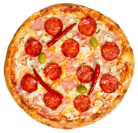 pepperoni pizza: Spicy Pepperoni Pizza with cheese, mushrooms, ham, pepperoni salami and red hot chilly peppers. See more pizzas and food  in my gallery