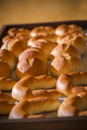 bread rolls: Breakfast buffet with bread buns and rolls. Bakery catering