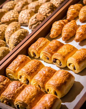 Breakfast buffet with chocolate stuffed puff pastry at hotel