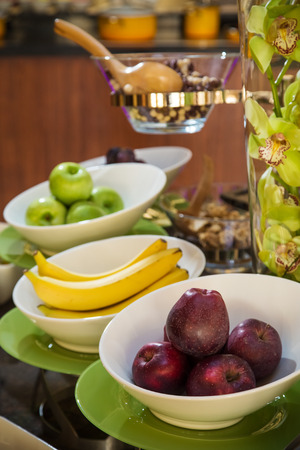 Delicious healthy fruit breakfast at hotel buffet