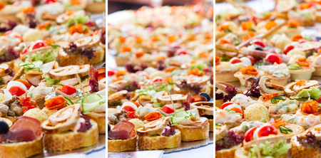 Collage of canape party, full background with shallow focus, check my portfolio for more catering Stock Photo