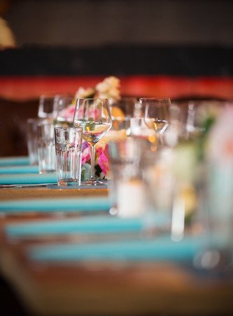 Restaurant table set for celebrations. See more catering files in my portfolio Stock Photo - 70292675