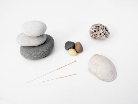 acupuncture needles concept of earth and water photo