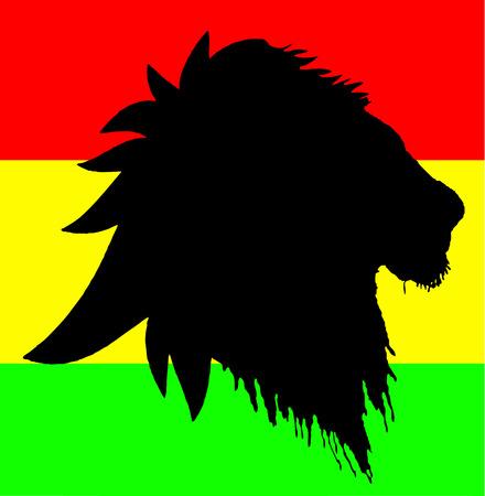carribean: vector de Le�n de reggae en bandera