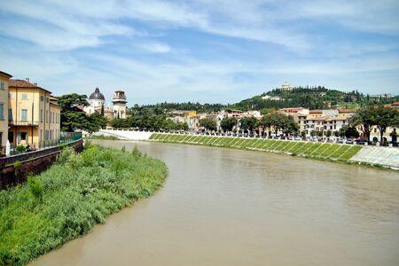 Santuario della Madonna di Lourdes on the hills San Leonardo hill which encircles the Valdonega valley offers views across the Adige river of Verona, Veneto, Italy
