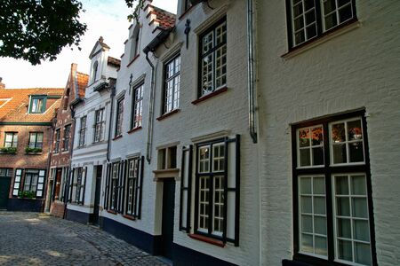 Traditional Brugge houses views. architecture of Bruges city, traditional narrow streets, Belgium