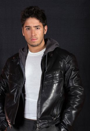 Male model wearing a lether jacket photo