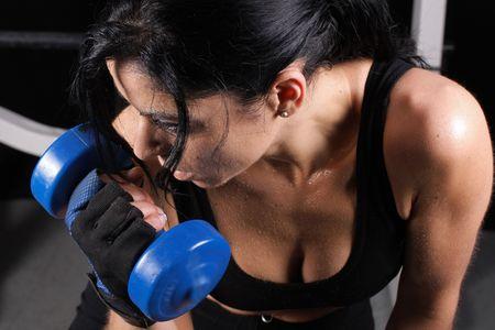 Weight training Stock Photo