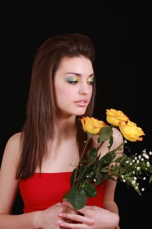 flowers and girl