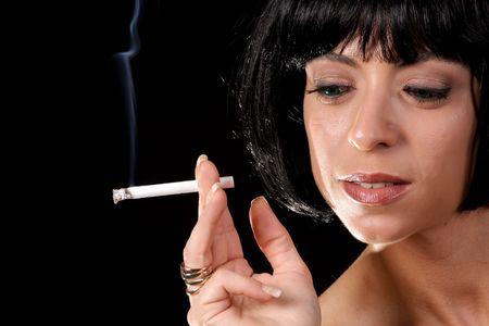 black hair blue eyes: smoking