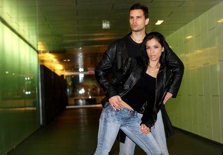 leather jacket couple photo
