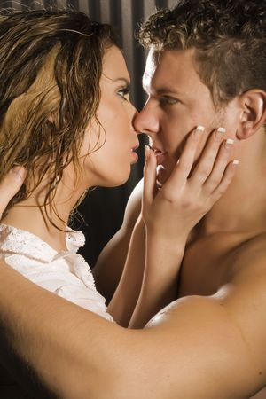 seductive couple: love is in the air Stock Photo