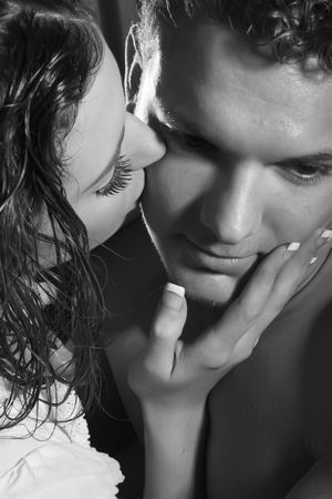 seductive expression: passionate kissing