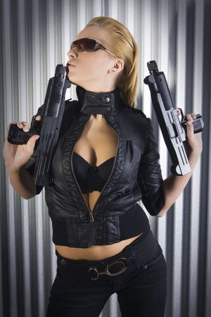 girl playing with guns