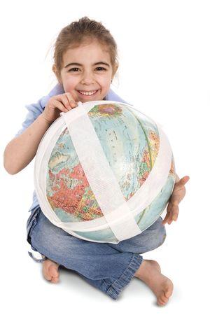 little girl fixing our planet Reklamní fotografie
