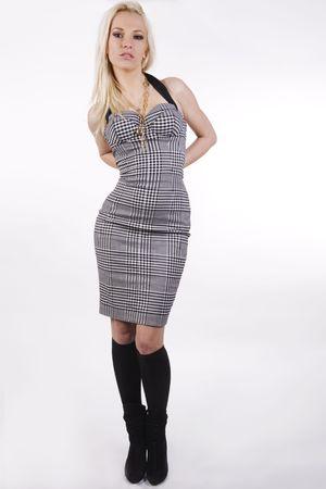 elegant blond model wearing a dress