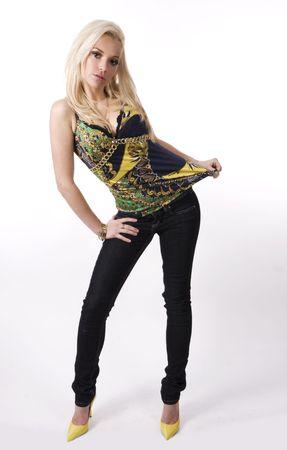beautiful blond in jeans