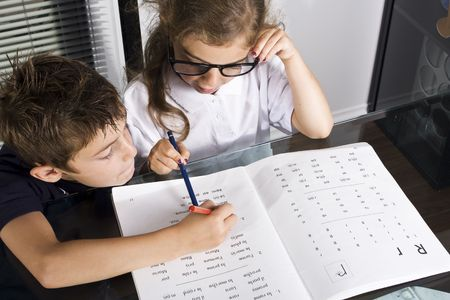 boy and girl studying Stock Photo - 5437865