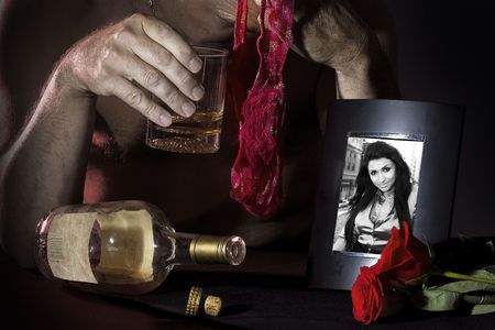 depressed men drinking Stock Photo - 5559294