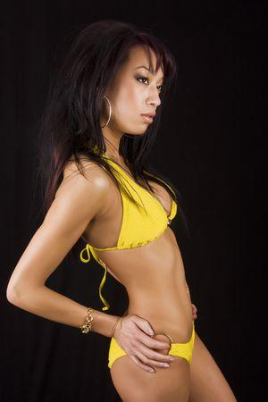 sexy asian model wearing a bikini photo