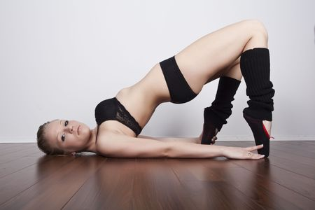 beautiful blond dance stretching photo