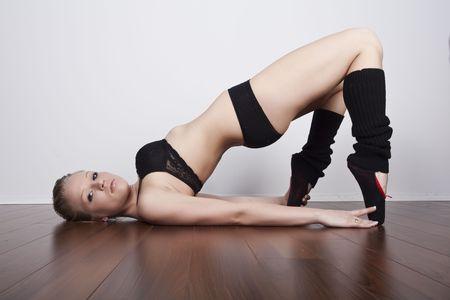 beautiful blond dance stretching photo