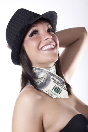 smiling business women making money photo