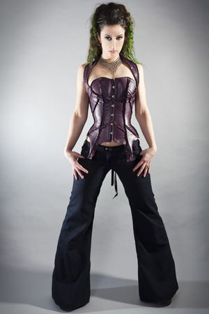 beautiful model wearing fashion urban style
