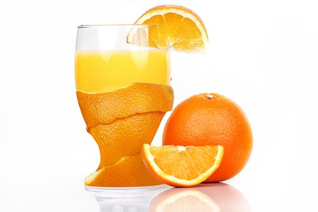 fresh glass of orange juice photo