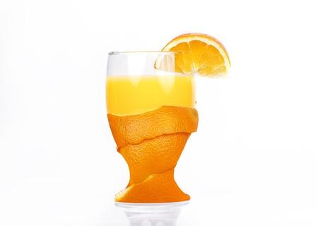 freshly peel glass of orange juice