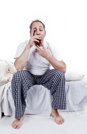 men yawning in the morning