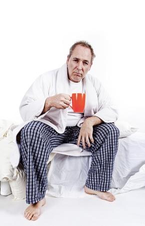men having coffee in the bedroom Standard-Bild
