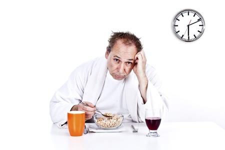 men having morning breakfast cereal