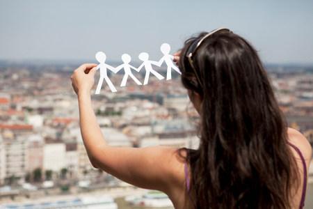 human likeness: Woman cut-out paper people