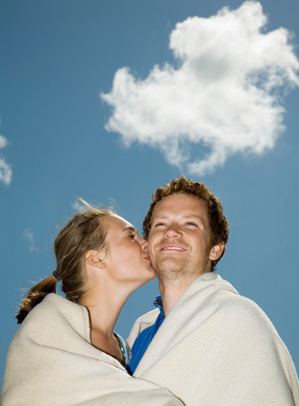 Couple in Blanket, Kissing