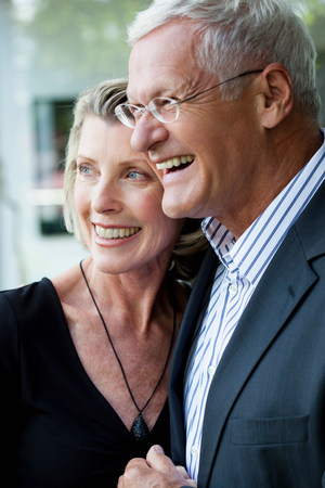 60 64 years: Senior Couple Embracing Stock Photo
