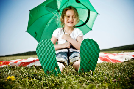 Girl wearing green shoes