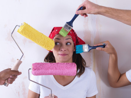Girl painting. Stock Photo