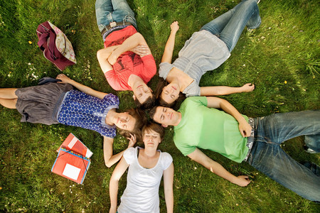 Five students relaxing in a park