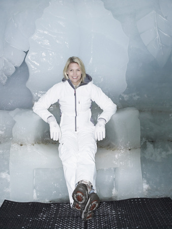 A woman sitting on a throne made of ice Stock Photo