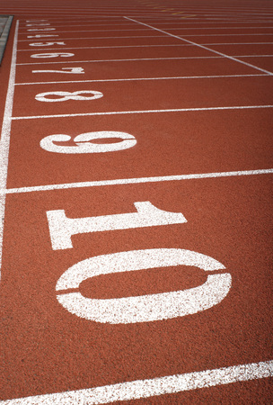 close up of lane numbers on a track