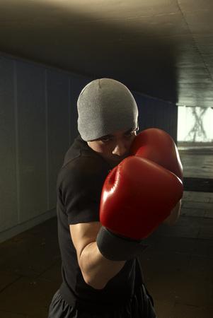 boxer in tunnel Banco de Imagens